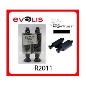 R2011 - Nastro Monocromatico Nero Stampa 1000 card a rotolo - Conf. da 10 Rot. - per Evolis Pebble e Dualys
