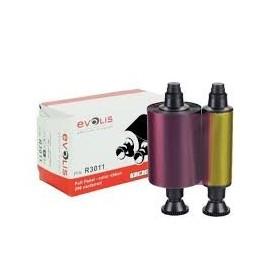 R3011 - Nastro Colore a 5 pannelli - YMCKO Stampa 200 card a rotolo - per Evolis Pebble e Dualys