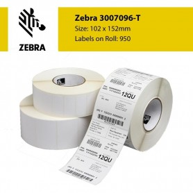 3007096-T - Etichette Zebra F.to 102x152mm Ad. Permanente D.i. 76mm Con Strappo facilitato