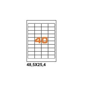 A4PL4825BO - Etichette F.to 48,5x25,4mm Poliestre Bianco Opaco su Foglio A4, per Stampante Laser - Confezione da 700 Fogli