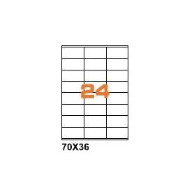 A4PL7036BO - Etichette F.to 70x36mm Poliestere Bianco Opaco su Foglio A4, per Stampante Laser - Confezione da 700 Fogli