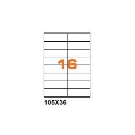 A4PL10536BO - Etichette F.to 105x36mm Poliestere Bianco Opaco su Foglio A4, per Stampante Laser - Confezione da 700 Fogli