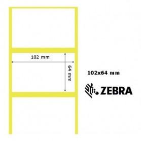 880023-063D - Etichette Zebra F.to 102x64mm Carta Vellum Adesivo Permanente D.i. 25mm - Confezione da 12 Rotoli