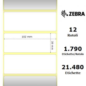 800294-155 - Etichette Zebra F.to 102x38mm Carta Vellum Ad. Permanente D.i. 25mm - con Strappo facilitato - Conf. da 12 Rotoli