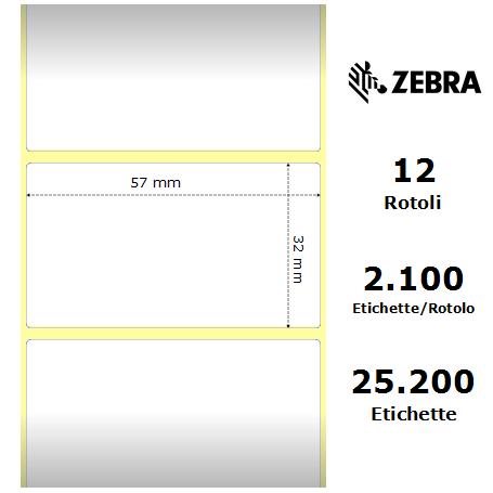 800262-127 - Etichette Zebra F.to 57X32mm Carta Termica Ad. Removibile - con Strappo facilitato - Conf. da 12 Rotoli