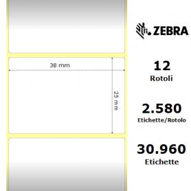 800261-107 - Etichette Zebra F.to 38X25mm Carta Termica Ad. Removibile D.i. 25mm - con Strappo facilitato - Conf. da 12 Rotoli
