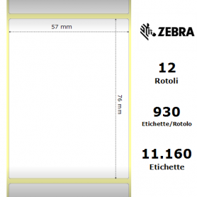 3007203-T - Etichette Zebra F.to 57x76mm Carta Vellum Ad. Permanente D.i. 25mm - con Strappo facilitato - Conf. da 12 Rotoli