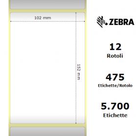 800294-605 - Etichette Zebra F.to 102x152mm Carta Vellum Ad. Permanente D.i. 25mm - con Strappo facilitato - Conf. da 12 Rotoli