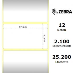 3006318 - Etichette Zebra F.to 57x32mm Carta Vellum Ad. Permanente D.i. 25mm - con Strappo facilitato - Conf. da 12 Rotoli