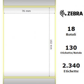 3002086 - Etichette Zebra F.to 76x102mm Carta Termica Adesivo Permanente D.i. 35mm - Confezione da 18 Rotoli
