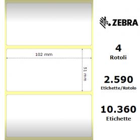 3011702 - Etichette Zebra PolyE Gloss 3100T F.to 102x51mm - Confezione da 4 Rotoli