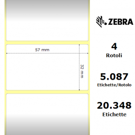3006324 - Etichette Zebra F.to 57x32mm Carta Vellum Ad. Permanente D.i. 76mm - con Strappo facilitato - Conf. da 4 Rotoli