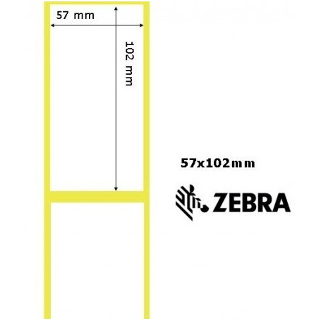 800262-405 - Etichette Zebra F.to 57x102mm Carta Termica Ad. Permanente D.i. 25mm con Strappo facilitato - Conf. da 12 Rotoli
